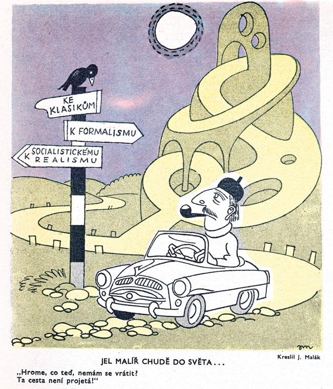 Jaroslav Malák. Jel malíř chudě do světa. Dikobraz číslo 45 z roku 1956.